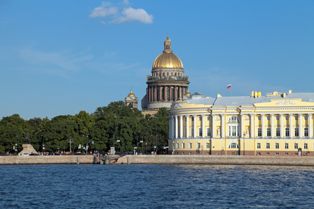 synod: Saint Petersburg, Russia, English Embankment and Saint Isaacs Cathedral (Isaakievskiy Sobor) built in 1858 under the project of architect Auguste de Montferrand and building of Senate and Synod