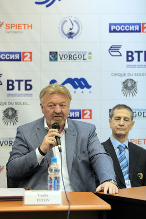 deputy: MOSCOW - APR 16: Vasily Titov - the first Deputy President-Chairman of the management Board of OAO VTB Bank on press-conference dedicated to the 2013 European Artistic Gymnastics Championships on April 16, 2013 in Moscow, Russia. Editorial