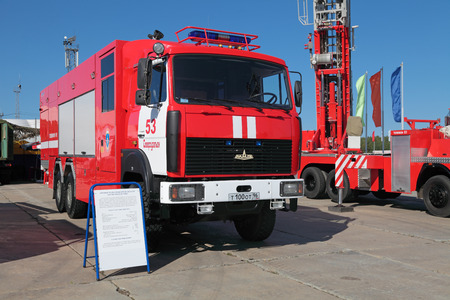 showpiece: NIZHNY TAGIL, RUSSIA- AUG 22: Modern fire tank truck at exhibition RUSSIAN DEFENCE EXPO 2012 on August, 22, 2012 at Nizhny Tagil, Russia