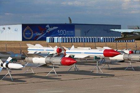 armament: ZHUKOVSKY, RUSSIA - AUG 11: The celebrating of the 100 anniversary of Russian air force. August, 11, 2012 at Zhukovsky, Russia. Models of aviation armament, missiles of various purposes Editorial