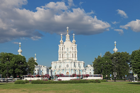bartolomeo rastrelli: ST.-PETERSBURG - JUL 02: The Smolny Cathedral is a famous building by architect Francesco Bartolomeo Rastrelli constructed in 1748-1835 years on Jul 02, 2013 in Saint-Petersburg, Russia Editorial
