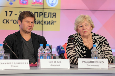 senior olympics: MOSCOW - APR 10: Alexei Nemov - the famous Russian gymnast and and Valentina Rodionenko - senior coach of Russia on sports gymnastics on press-conference dedicated to the 2013 European Artistic Gymnastics Championships in Russian International News Agency