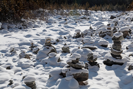 sacramentale: Il culto del luogo sacro Ovoo con le piramidi di pietre, Russia, Siberia, la Repubblica di Buriazia