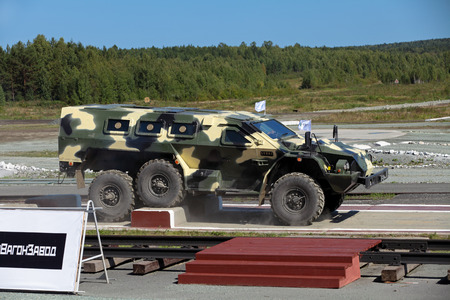 showpiece: NIZHNY TAGIL, RUSSIA- AUG 23: The russian armored car Bulat for advanced infantry at exhibition RUSSIAN DEFENCE EXPO 2012 on August, 23, 2012 in Nizhny Tagil, Russia Editorial