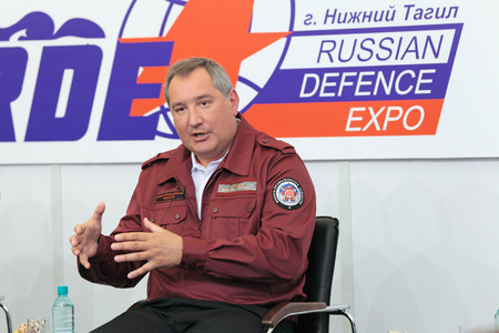interviewed: NIZHNY TAGIL, RUSSIA- AUG 24: Dmitry Rogozin is Ambassador Extraordinary and Plenipotentiary of Russia, vice-premier of Russian Government at RUSSIAN DEFENCE EXPO 2012 on August, 24, 2012 at Nizhny Tagil, Russia