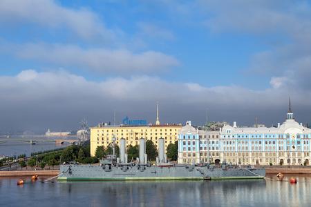 ST.-PETERSBURG - JUL 07: The famous revolutionary ship cruiser Aurora on the Neva river on Jul 07, 2013 in Saint-Petersburg, Russia