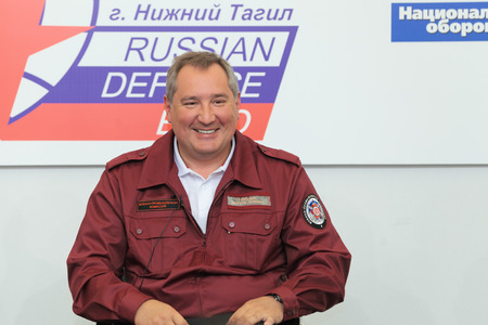 ambassador: NIZHNY TAGIL, RUSSIA- AUG 24: Dmitry Rogozin is Ambassador Extraordinary and Plenipotentiary of Russia, vice-premier of Russian Government at RUSSIAN DEFENCE EXPO 2012 on August, 24, 2012 at Nizhny Tagil, Russia