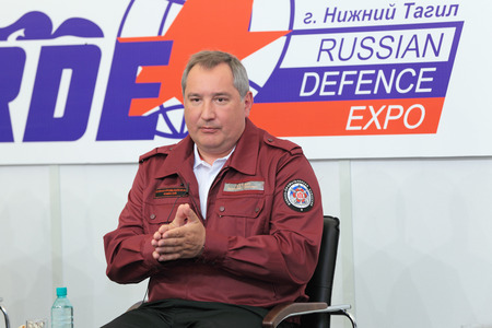 extraordinary: NIZHNY TAGIL, RUSSIA- AUG 24: Dmitry Rogozin is Ambassador Extraordinary and Plenipotentiary of Russia, vice-premier of Russian Government at RUSSIAN DEFENCE EXPO 2012 on August, 24, 2012 at Nizhny Tagil, Russia