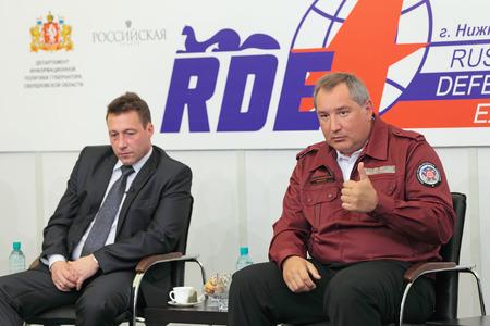 ambassador: NIZHNY TAGIL, RUSSIA - AUG 24: Igor Kholmanskikh - Presidential Plenipotentiary Envoy to the Urals Federal District and Dmitry Rogozin - Ambassador Extraordinary and Plenipotentiary of Russia at RUSSIAN DEFENCE EXPO 2012 on August, 24, 2012 at Nizhny Tagi
