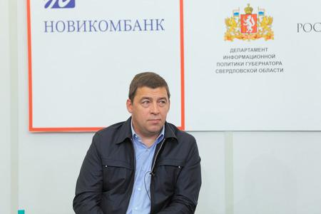 interviewed: NIZHNY TAGIL, RUSSIA- AUG 24: Kuyvashev Evgeny Vladimirovich - Russian statesman, Governor of Sverdlovsk region at RUSSIAN DEFENCE EXPO 2012 on August, 24, 2012 at Nizhny Tagil, Russia Editorial