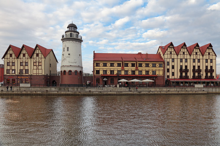 ethnographic: KALININGRAD, RUSSIA - MAY 03: Fishing village - ethnographic and trade-craft center. Built in the old German style on May, 03, 2013 in Kaliningrad, Russia