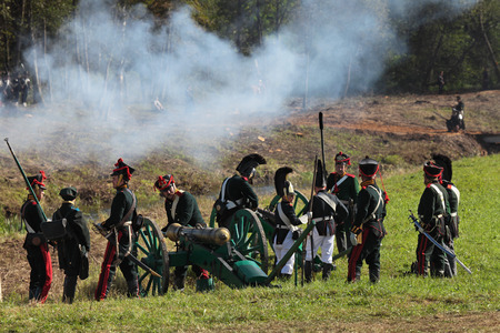 BORODINO, MOSCOW REGION - SEPTEMBER 01: Reenactment of the Borodino battle between Russian and French armies in 1812 at its 200th anniversary on September 01, 2012 in Borodino, Moscow Region, Russia Editorial