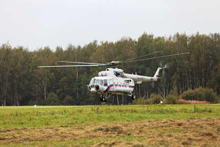 MOSCOW REGION, RUSSIA - SEP 02: The celebration of the 200th anniversary of the battle of Borodino in 1812. The helicopter the President of Russia landing on the field of Borodino on September 02, 2012 in Borodino, Russia