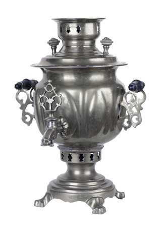 Old russian samovar, isolated on white background photo