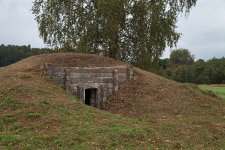 An old pillbox since the Second World war at the turn of the defense of Moscow, Mozhaysk district, Borodino, Russia Stock Photo