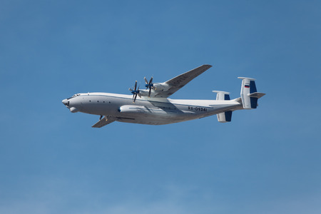 MOSCOW - MAY 09: Celebration of the 68th anniversary of the Victory Day (WWII). Flight of aircraft in the sky, the Soviet heavy turboprop transport aircraft An-22 in the sky on May 9, 2013 in Moscow, Russia
