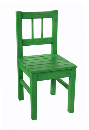 Green childrens chair, isolated on a white background