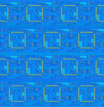 Blue technical seamless background in the form of the printed-circuit board photo