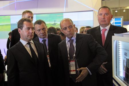 incumbent: ZHUKOVSKY, RUSSIA - AUG 27: Dmitry Anatolyevich Medvedev at the International Aviation and Space salon MAKS. Aug, 27, 2013 at Zhukovsky, Russia