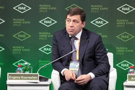 governor: NIZHNY TAGIL, RUSSIA - SEP 25: Evgeny Kuyvashev - Governor of Sverdlovsk region at the exhibition RUSSIA ARMS EXPO (RAE-2013) on September, 25, 2013 at Nizhny Tagil, Russia