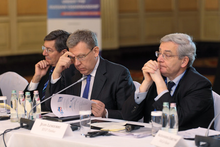 ministers: MOSCOW, RUSSIA - FEB 15: Alexei Kudrin - ex Minister of Finance of the Russian Federation at G20 Finance Ministers and Central Bank Governors Deputies Meeting on February, 15, 2013 in Ritz-Carlton Hotel, Moscow, Russia
