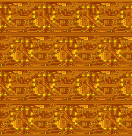 internals: Red technical seamless background in the form of the printed-circuit board