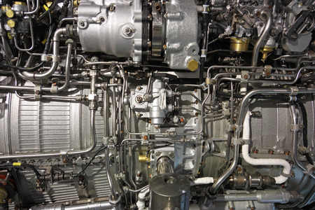 chamber of the engine: Detailed exposure of a turbo jet engine