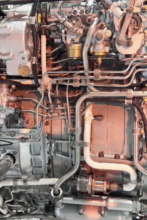 fuel chamber: Detailed exposure of a turbo jet engine. Technogenic background.