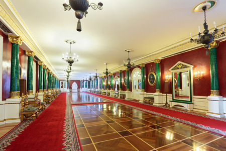 foyer: Russia, Moscow, Grand Kremlin Palace - historical old building built from 1837 to 1849, at the present time the ceremonial residence of the President of Russia. Hall Malachite foyer