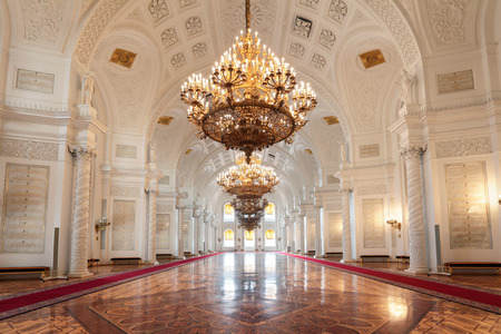 Russia, Moscow, Grand Kremlin Palace - historical old building built from 1837 to 1849, at the present time the ceremonial residence of the President of Russia. Georgievsky hall