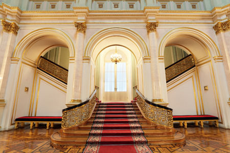 Russia, Moscow, Grand Kremlin Palace - historical old building built from 1837 to 1849, at the present time the ceremonial residence of the President of Russia. Small Georgievsky hall, stairs 에디토리얼