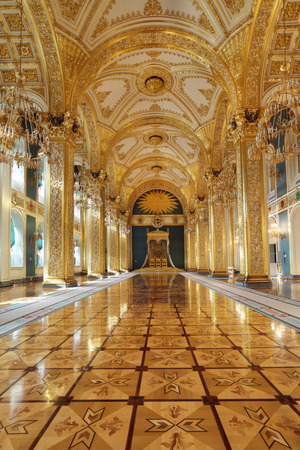 ceremonial: Russia, Moscow, Grand Kremlin Palace - historical old building built from 1837 to 1849, at the present time the ceremonial residence of the President of Russia. St. Andrews hall (throne hall)
