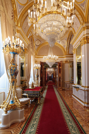 Russia, Moscow, Grand Kremlin Palace - historical old building built from 1837 to 1849, at the present time the ceremonial residence of the President of Russia. The Royal accommodations Editorial