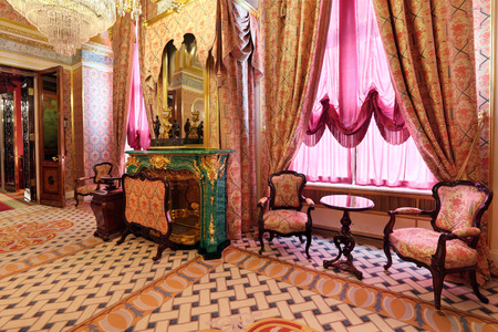 Russia, Moscow, Grand Kremlin Palace - historical old building built from 1837 to 1849, at the present time the ceremonial residence of the President of Russia. The Royal accommodations, malachite fireplace