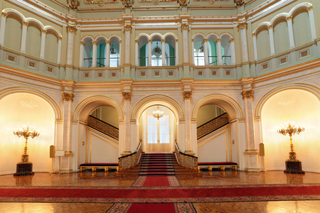 Russia, Moscow, Grand Kremlin Palace - historical old building built from 1837 to 1849, at the present time the ceremonial residence of the President of Russia. Small Georgievsky hall