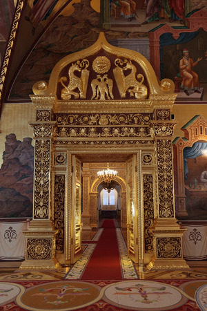 facets: Russia, Moscow, the Palace of the Facets - historical old building on the territory of the Kremlin built from 1487 to 1491, at the present time the ceremonial residence of the President of Russia. Golden Doors