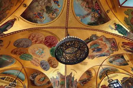 facets: Russia, Moscow, the painted ceiling in Palace of the Facets - historical old building on the territory of the Kremlin built from 1487 to 1491, at the present time the ceremonial residence of the President of Russia.