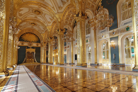 Russia, Moscow, Grand Kremlin Palace - historical old building built from 1837 to 1849, at the present time the ceremonial residence of the President of Russia. St. Andrews hall (throne hall)