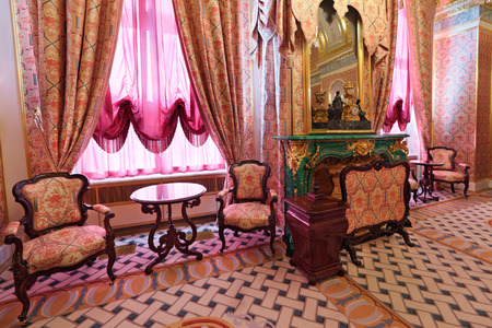 ceremonial: Russia, Moscow, Grand Kremlin Palace - historical old building built from 1837 to 1849, at the present time the ceremonial residence of the President of Russia. The Royal accommodations, malachite fireplace