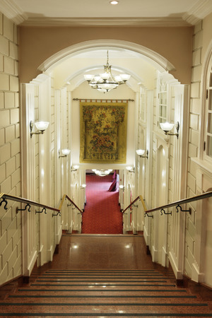 The interior of the old building, granite staircase to the first floor