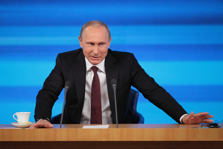 MOSCOW, RUSSIA - DEC 19: The President of the Russian Federation Vladimir Vladimirovich Putin annual press conference in Center of international trade