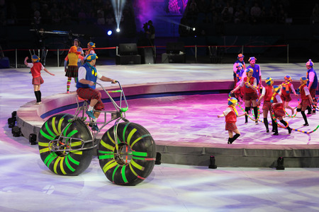 olympic stadium: MOSCOW, RUSSIA - JAN 06, 2013: Childrens new year performance Circus Santa Claus II - Olympic New Year in Olympic Stadium (sport complex)