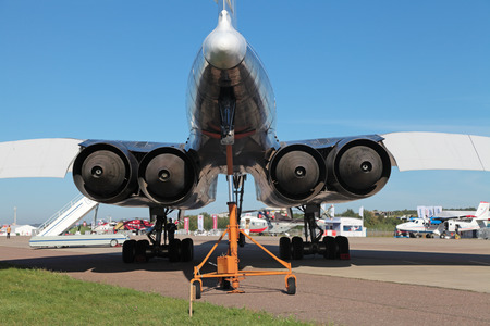 supersonic transport: ZHUKOVSKY, RUSSIA - SEP 1, 2013: The turbojet engines of the plane Tupolev Tu-144 was the first in the world commercial supersonic transport aircraft at the International Aviation and Space salon MAKS-2013