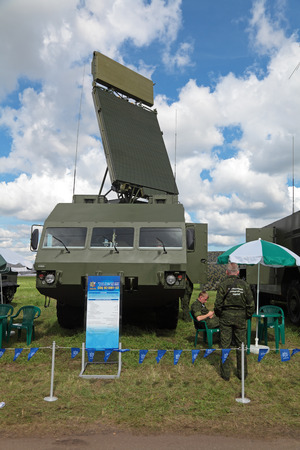 gadfly: ZHUKOVSKY, RUSSIA - AUG 26, 2013: Station target detection anti-aircraft Buk missile system (SA-11 Gadfly) at the International Aviation and Space salon MAKS-2013