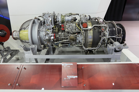 aeroengine: ZHUKOVSKY, RUSSIA - AUG 27, 2013: Turboshaft engine for a helicopters Mil Mi-38 at the International Aviation and Space salon MAKS-2013