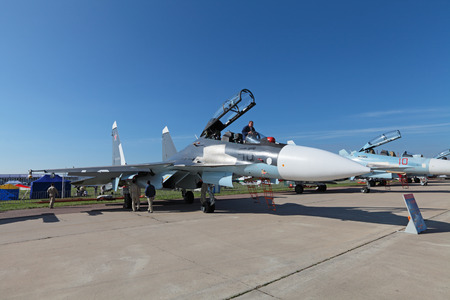 sm: ZHUKOVSKY, RUSSIA - AUG 28, 2013: Demonstration jet plane Sukhoi Su-30 SM is two-seat, twin-engine supermaneuverable multirole fighter at the International Aviation and Space salon MAKS-2013 Editorial