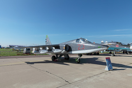 sm: ZHUKOVSKY, RUSSIA - AUG 28, 2013: The Sukhoi Su-25 sm is a Russian single-seat, twin-engine armored subsonic attack aircraft at the International Aviation and Space salon MAKS-2013