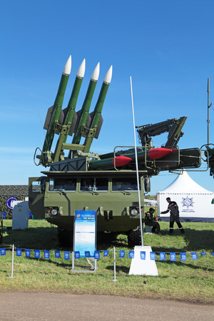 armaments: ZHUKOVSKY, RUSSIA - AUG 26, 2013: The anti-aircraft Buk missile system (SA-11 Gadfly) at the International Aviation and Space salon MAKS-2013