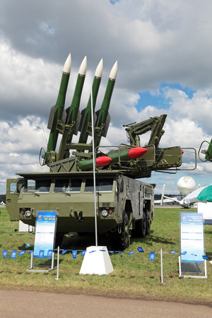 gadfly: ZHUKOVSKY, RUSSIA - AUG 26, 2013: The anti-aircraft Buk missile system (SA-11 Gadfly) at the International Aviation and Space salon MAKS-2013