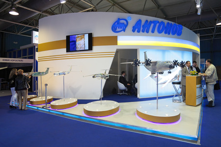 aeronautical: ZHUKOVSKY, RUSSIA - AUG 29, 2013: The companys stand Antonov (Aeronautical ScientificTechnical Complex) at the International Aviation and Space salon MAKS-2013